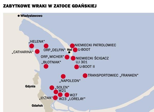 Mapa Wraki na Bałtyku - Zatoka Gdańska