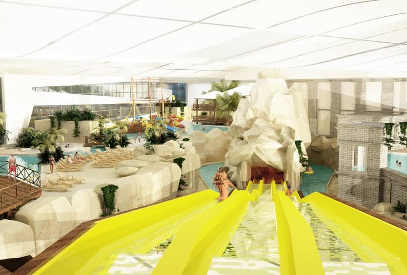 Zjeżdżalnie i leniwa rzeka z pontonami-Aquapark Reda