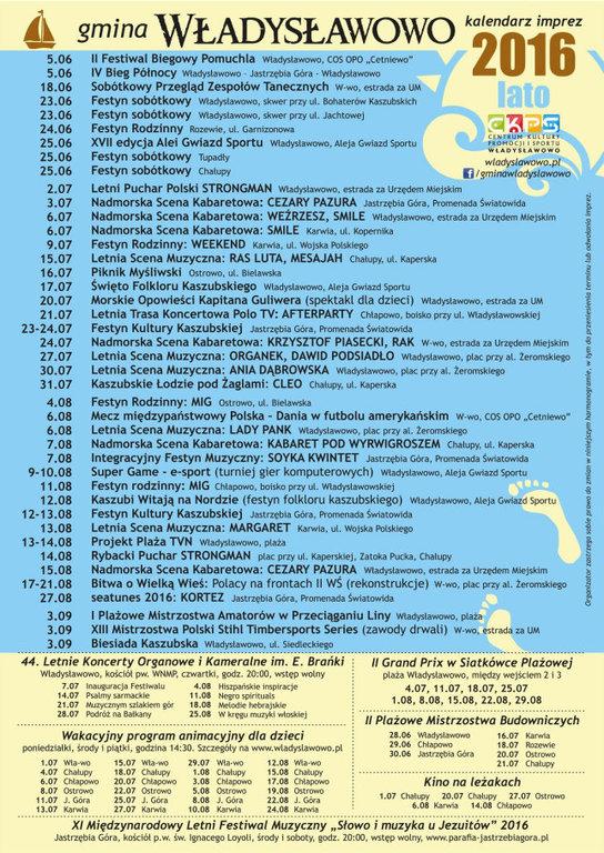 Kalendarz imprez Władysławowo 2016 koncerty wydarzenia atrakcje