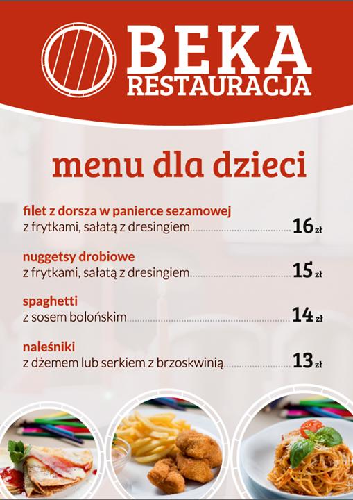 Restauracja Beka - menu dla dzieci