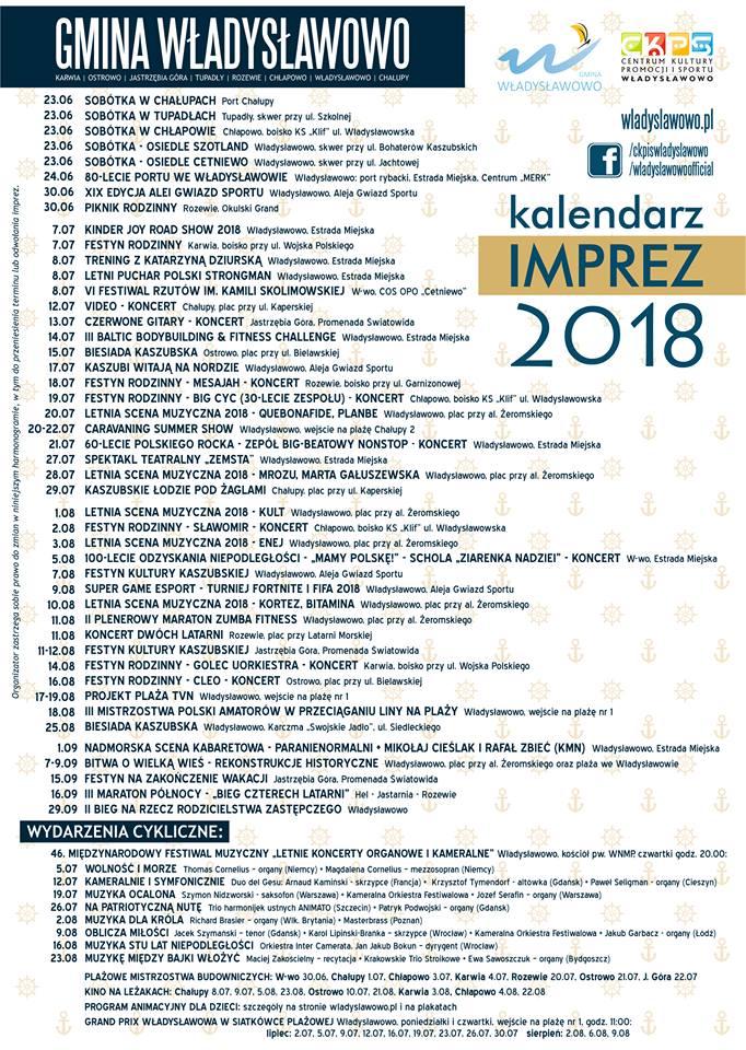 kalendarz imprez władysławowo 2018 koncerty